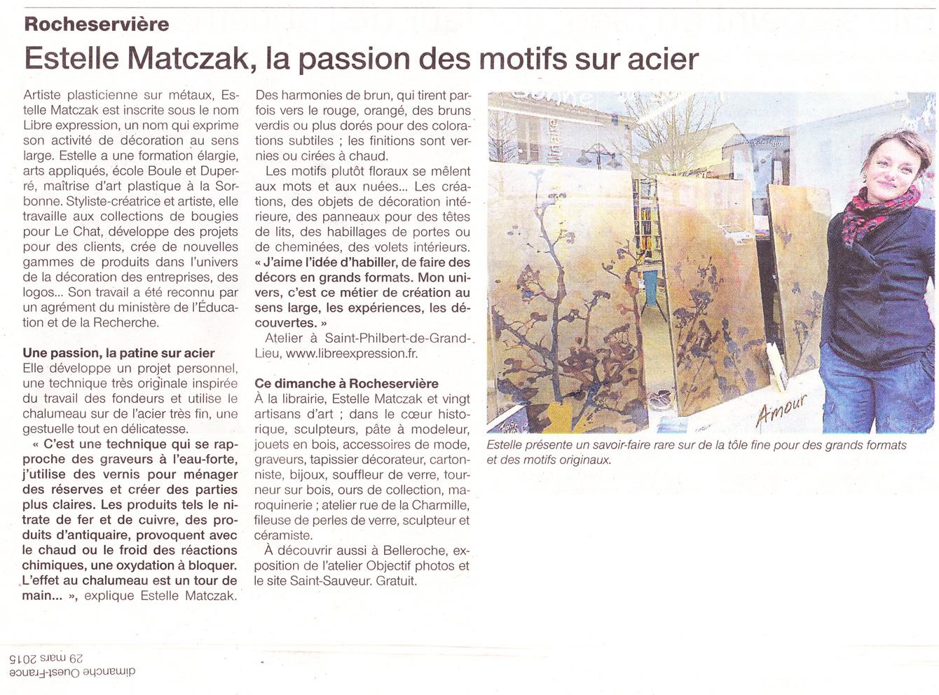Article paru dans Ouest France pour les JEMA en 2015