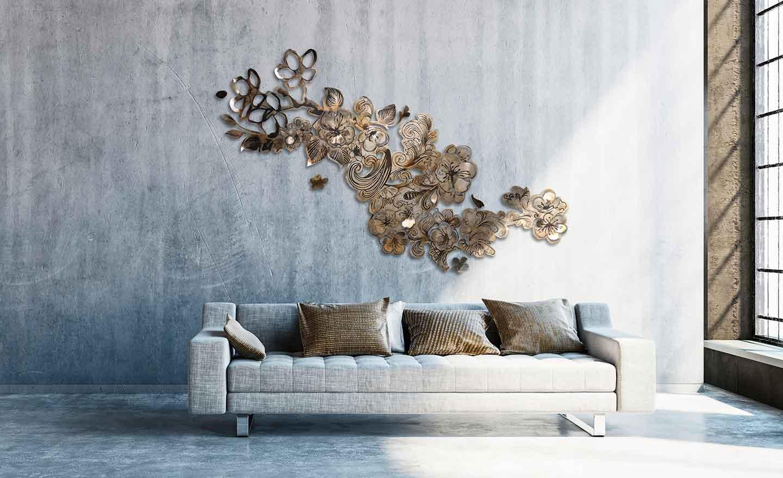 Sculpture sur acier patiné Sous l'ombre des cerisiers Création Estelle Matczak